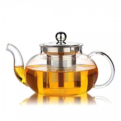 Стъклен чайник с цедка