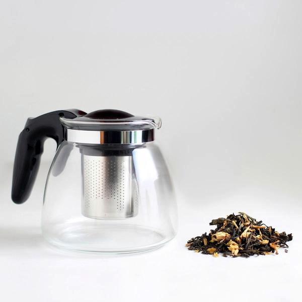 Стъклен чайник с филтър 900 мл