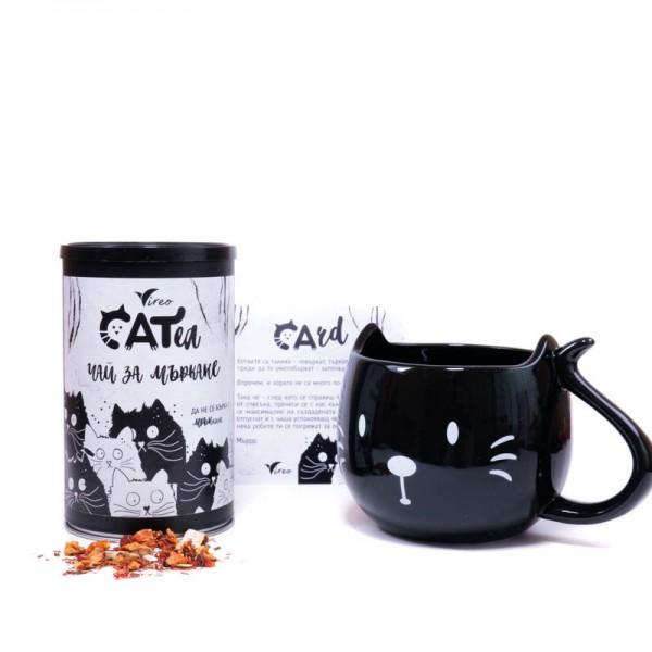 Сет за мъркане с черна чаша котка