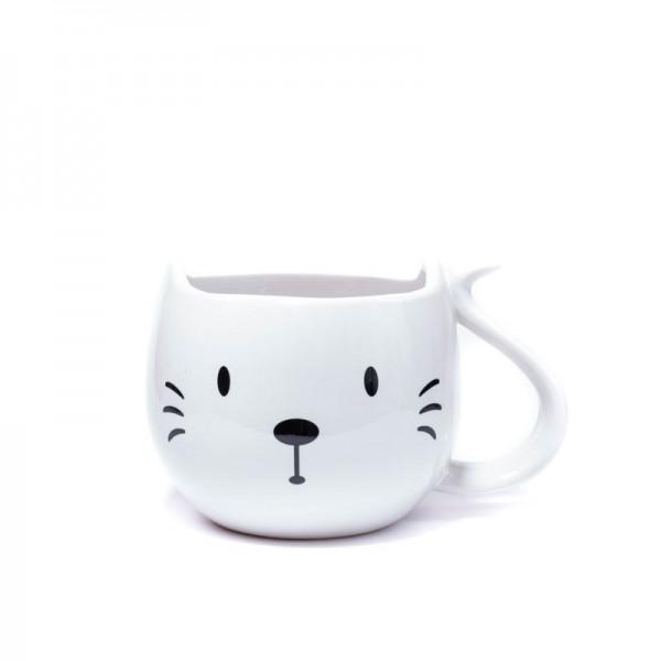 Сет за мъркане с бяла чаша котка